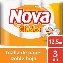 Toalla Papel Clasica Dh 3Rollo 12.5 Mt Nova