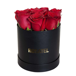 Sombrerera Negra con 9 Rosas
