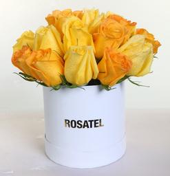 Sombrerera Blanca 21 Rosas Amarillas