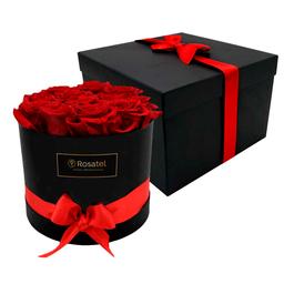 Sombrerera Negra con 12 Rosas Preservadas Rojas