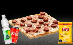 Pizza Española Individual + Bebida 350cc + Papas Lays 42g