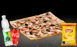 Pizza Capricciosa Individual + Bebida 350cc + Papas Lays 42g