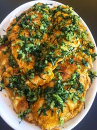 Pollo Asado con Salsa de Zanahoria, Curry y Cilantro