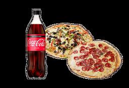 2 pizzas familiares + bebida 1,5 litros
