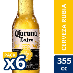Cerveza Corona Extra Six Pack Long Neck 355cc