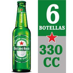 6x Cerveza Heineken Botella 330cc