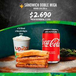 Promo: Sandwich doble miga + bebida lata 350 cc