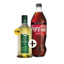 Promo: Pisco Alto del Carmen 35° 750cc + Coca Cola 1,5cc