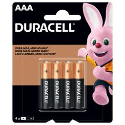 Pilas Duracell Alcalinas AAA 4 Unidades