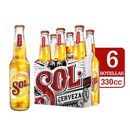 Cerveza Sol Botellas Six Pack 330cc