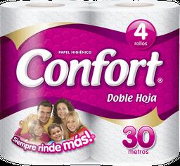 Papel Higiénico Confort Doble Hoja 30Mts 4Un