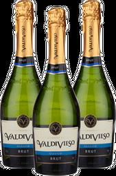 3x Vino Espumante Valdivieso Clasico Brut 750 mL