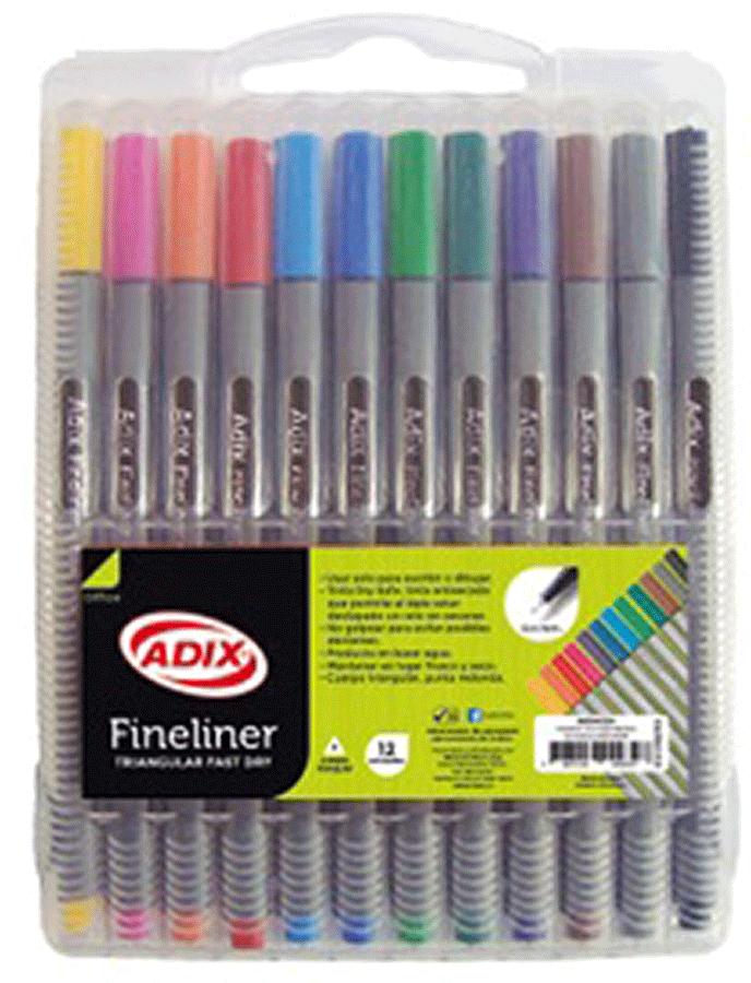 Lapices Fineliner Triangular 12 Colores Adix