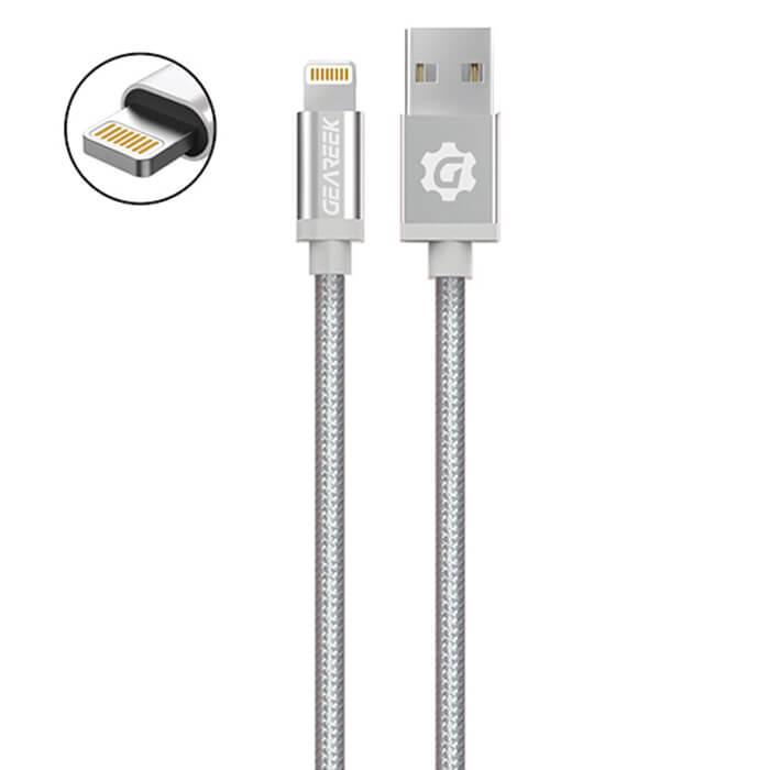 Cable Lightning (iPhone) Plateado Premium Braided