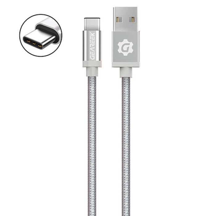 Cable Tipo C Plateado Premium Braided