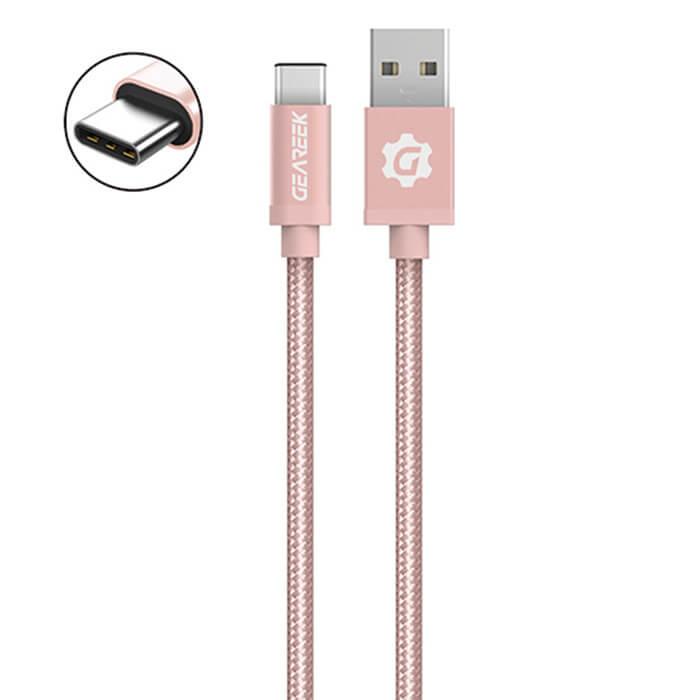 Cable Tipo C Rosado Premium Braided