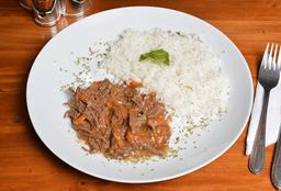 Carne mechada + porcion de arroz