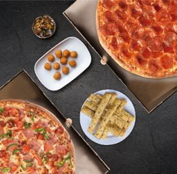 2 Pizzas Familiares + 2 Acom. + Bebida