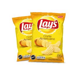2x Papas fritas Lays Corte Americano 230g