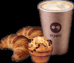 Muffin o 2 Medialuna + Café de Grano 8 oz
