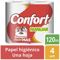 Papel Higiénico Una Hoja Familiar 120 Metros c/u Confort 4Un