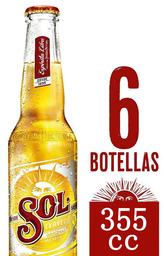 Six Pack Cervezas Sol Botellas 355cc