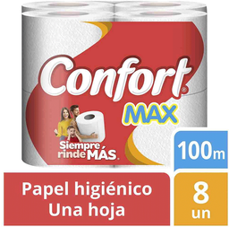 2 x Papel Higiénico Max Una Hoja 100 m Paquete  Confort 8Un