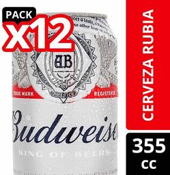 Pack de Cerveza 355cc Budweiser 12Un