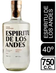 Pisco Reservado 40° Espiritu Andes 750cc