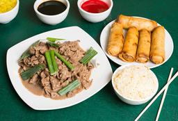 Carne Mongoliano con Arroz Chaufa