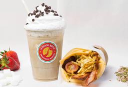 Waffle Bacon GF + Café Helado