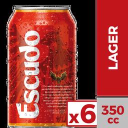 Six Pack Cerveza Escudo Lata 350 cc