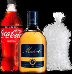 Promo: Pisco Mistral 750 cc + Bebida variedad 1,5L  + Hielo 2Kg