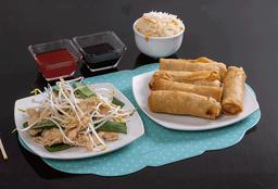Diente de pollo con arroz chaufa