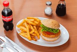 Hamburguesa de Pollo + Papas Fritas + Bebida o Té