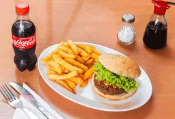 Hamburguesa de Carne + Papas Fritas + Té o Bebida