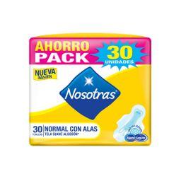 Nosotras - Toallas Higiénicas Normal Con Alas Tela Suave 8X30