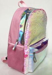 Mochila Con Lentejuelas y Bolsillo Holográfico Pink 1 U