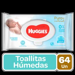 Toalla Humeda Huggies Puro y Natural RN 64Un