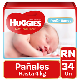 Pañal Huggies Natural Care Unisex RN 34 Un