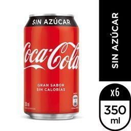 Six pack Bebida Coca Cola Zero Lata 350ml