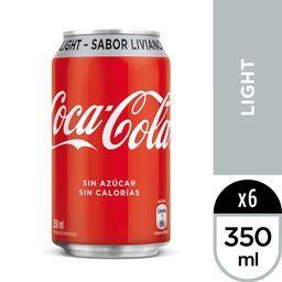 Six pack Bebida Coca Cola Light Lata 350ml