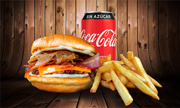 "Hamburguesa ""Bacon"" + Papas Chicas + lata de bebida"