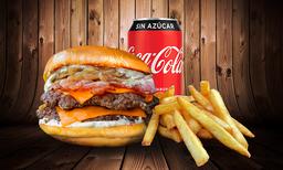 """Hamburguesa """"Bacon"""" Doble + Papas Chicas + lata de bebida"""