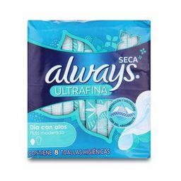 Always Seca Ultrafina Dia C/Alas X 8 Toallas