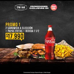 Elige 2 sandwich a eleccion! + papas fritas + Bebida de 1.5 lts.