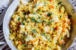 Pescado Del Día con Arroz Al Curry