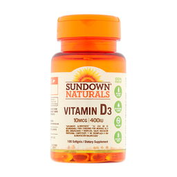 Vitamina D3 Sundown 100 Cápsulas (400 UI)