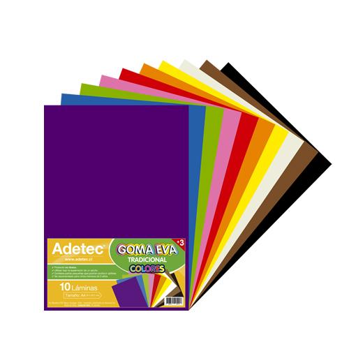 Goma Eva 10 Colores A4 21X29