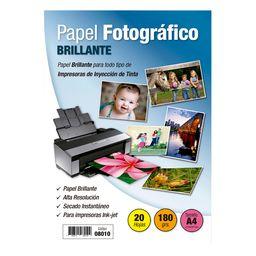 Papel Fotografico Inkjet Brillante A4 20 Hojas 180g